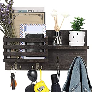 KaqiNova Wall Mounted Mail Sorter Organizer,Wooden Coat Key Holder Hooks Rack Hanging with 4 Keys,Wood Envelope Holder,Rustic Home Decor for Entryroom, Mudroom,Hallway,Kitchen,Office