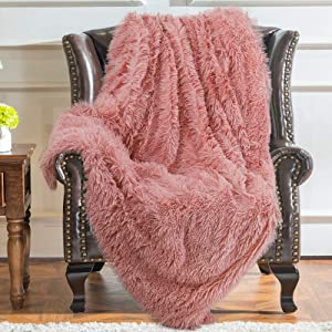 YJ.GWL Soft Shaggy Throw Blanket and Fluffy Long Plush Faux Fur Bed Throws Fuzzy Decorative Sherpa Fleece Blankets for Couch, Sofa,Chair 50 x 60 Inch Dirty Pink