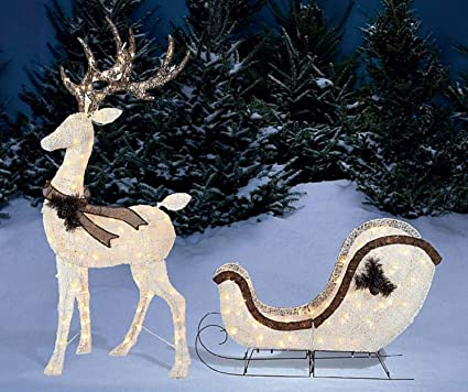light up buck deer sleigh 2 piece set christmas yard decoration - Christmas Deer Yard Decorations