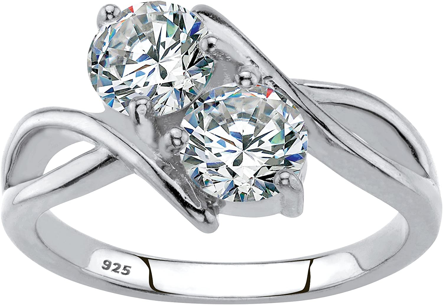 1.96 TCW Round Cubic Zirconia .925 Sterling Silver 2-Stone Bypass Ring