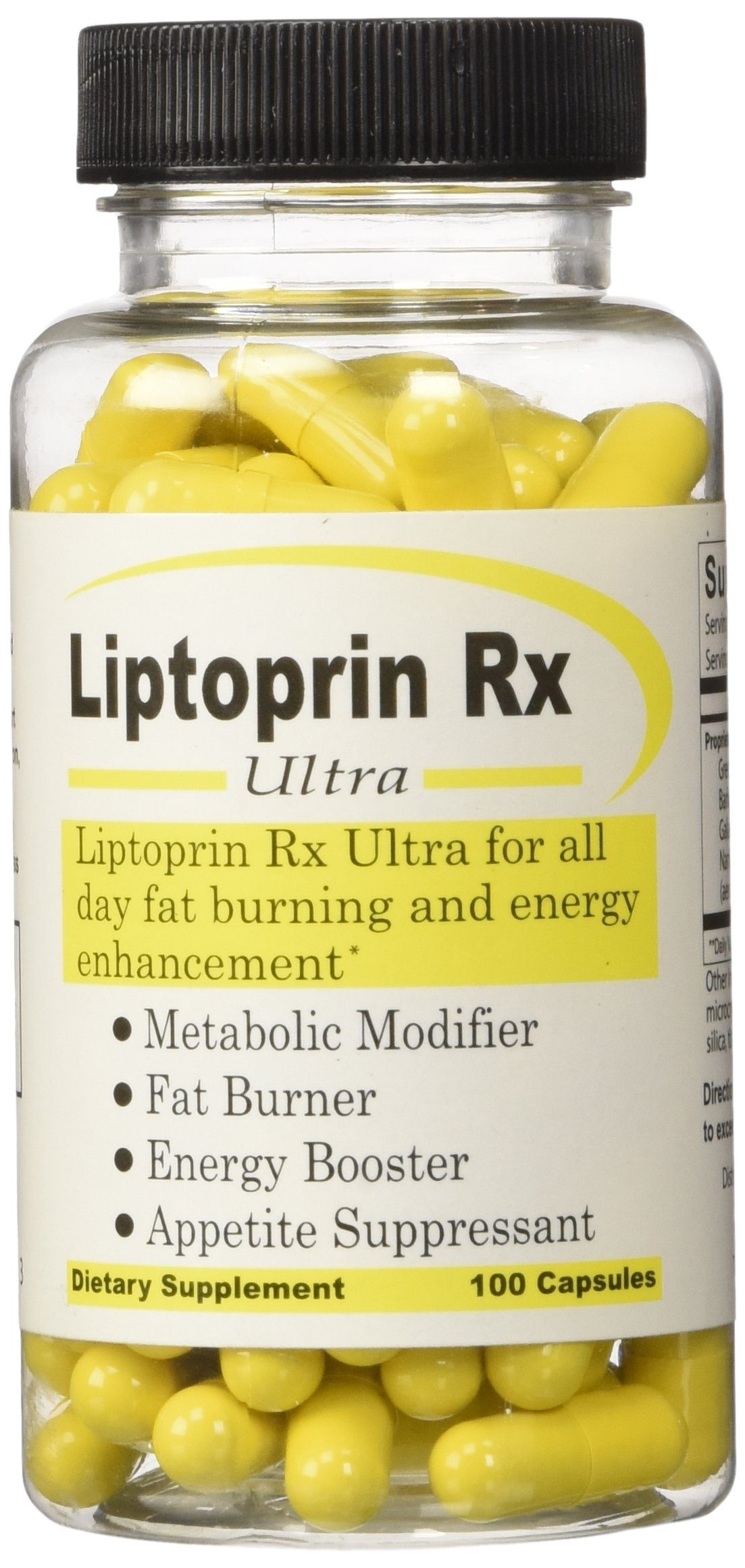 Liptoprin-Rx Ultra - Best Metabolism Booster Diet and Weight Loss Supplement Fat Burner Appetite Suppressant Pills Lose Weight Fast Natural Energy Booster 100 Capsules