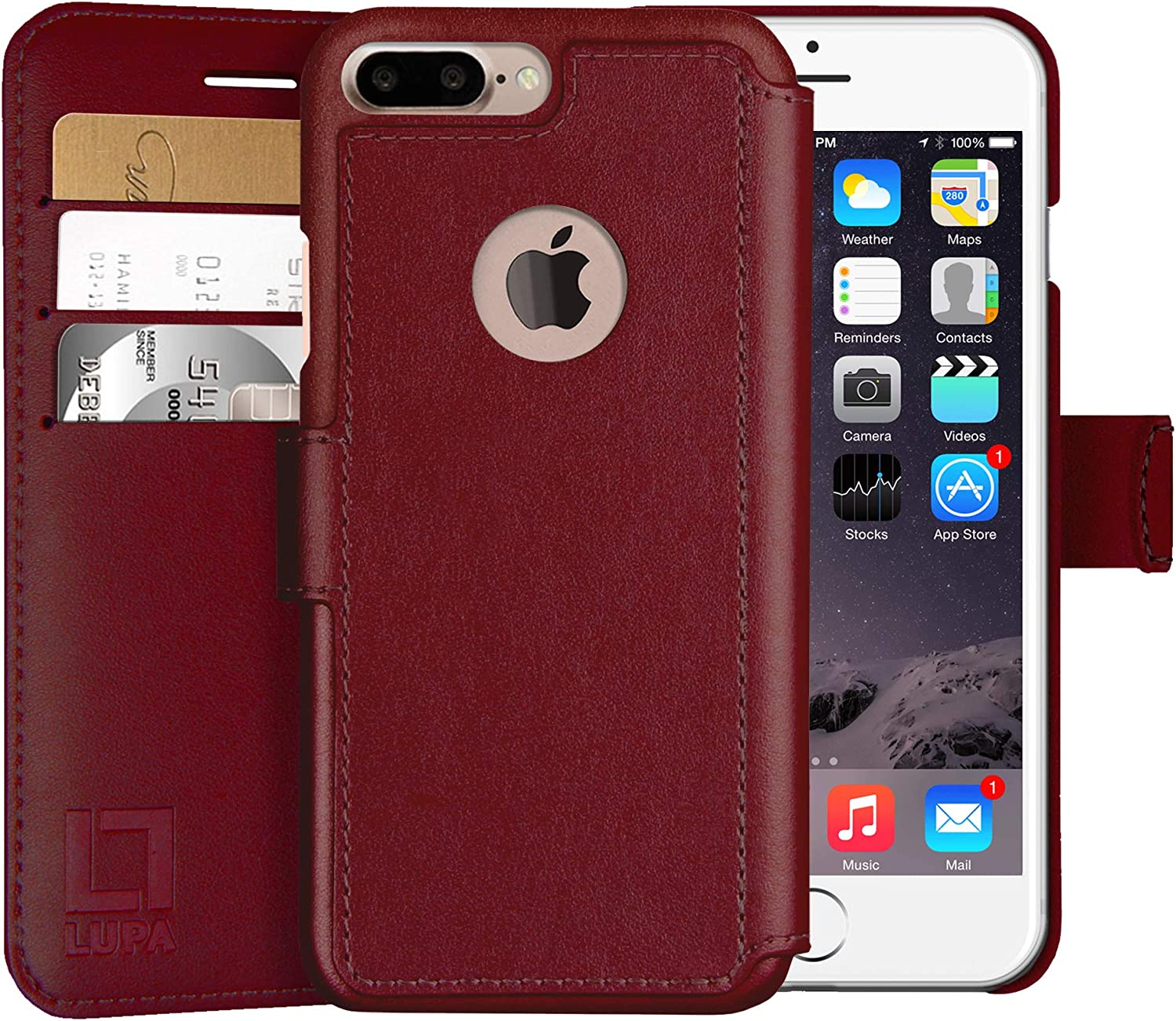 LUPA Wallet Case iPhone 8 Plus, Durable and Slim, Lightweight with Magnetic Closure, iPhone 8 Plus Case with Card Holder, Faux Leather, Burgundy (5.5 Inch Screen)