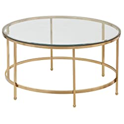 "Rivet Modern Glass and Gold Coffee Table, 36""W, Gold Finish"