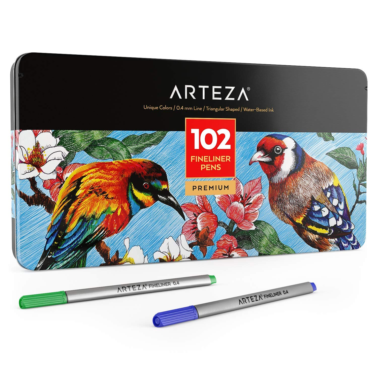 ARTEZA Fineliners Fine Point Pens, Set of 102 Fine Tip Markers with 0.4mm Tips & Sure Grip Ergonomic Barrels, Brilliant Assorted Colors for Coloring, Drawing & Detailing + Sturdy Metal Storage by ARTEZA