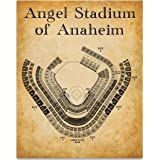 Blueprint Style Print Angel Stadium of Anaheim