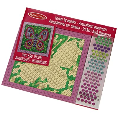 Melissa & Doug 14293 Butterfly Peel and Press Mosaics Sticker by Number Kit with 650+ Stickers, Assorted Colours: Toys & Games