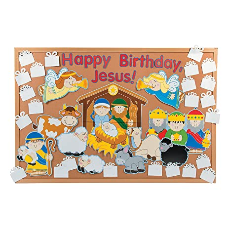 Amazon Com Diy Happy Birthday Jesus Bulletin Board Set Office