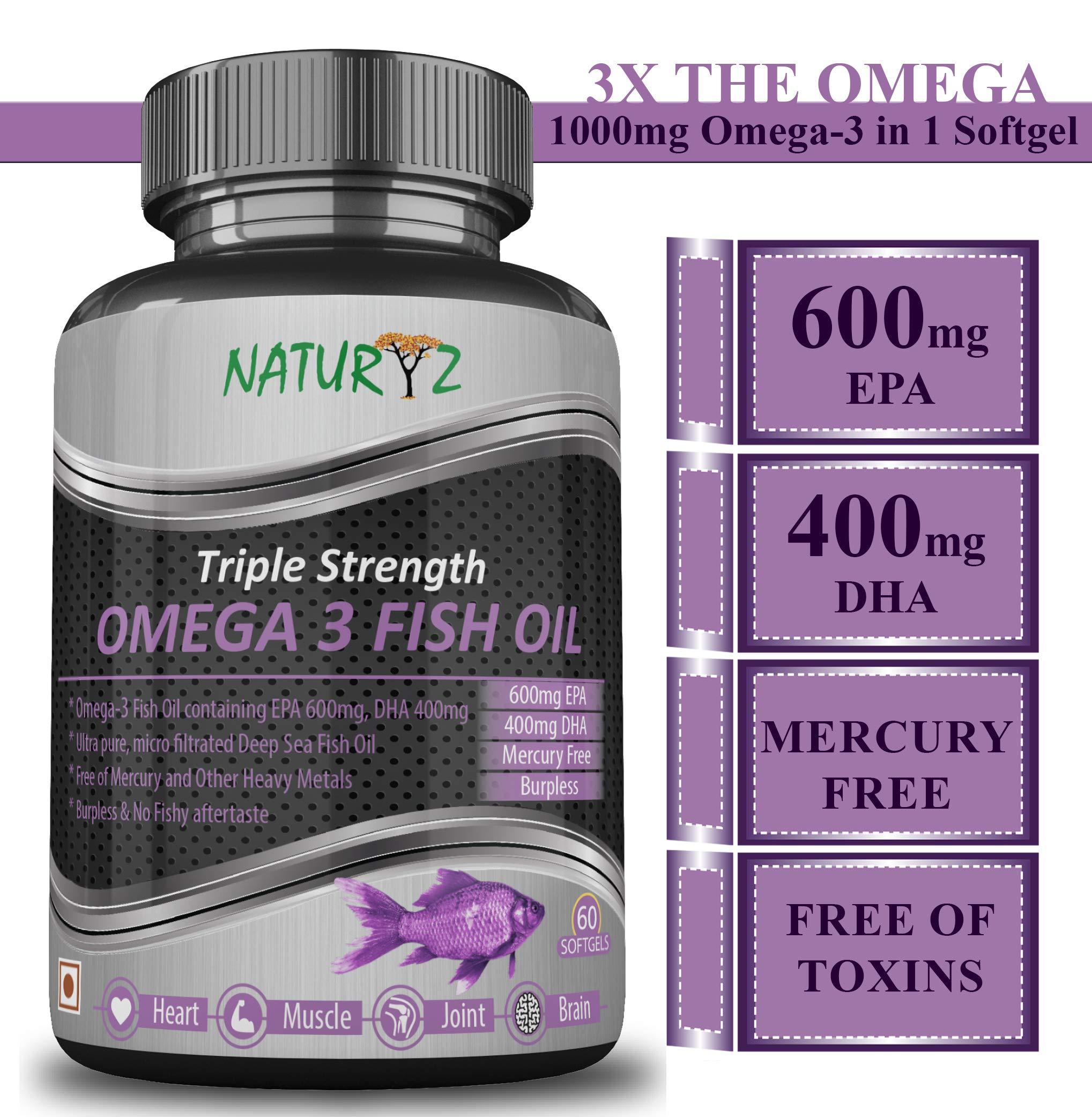 Naturyz Fish Oil 1400Mg (Triple Strength) With 1000Mg Omega 3 (600Mg Epa, 400Mg Dha) - 60 Softgels product image