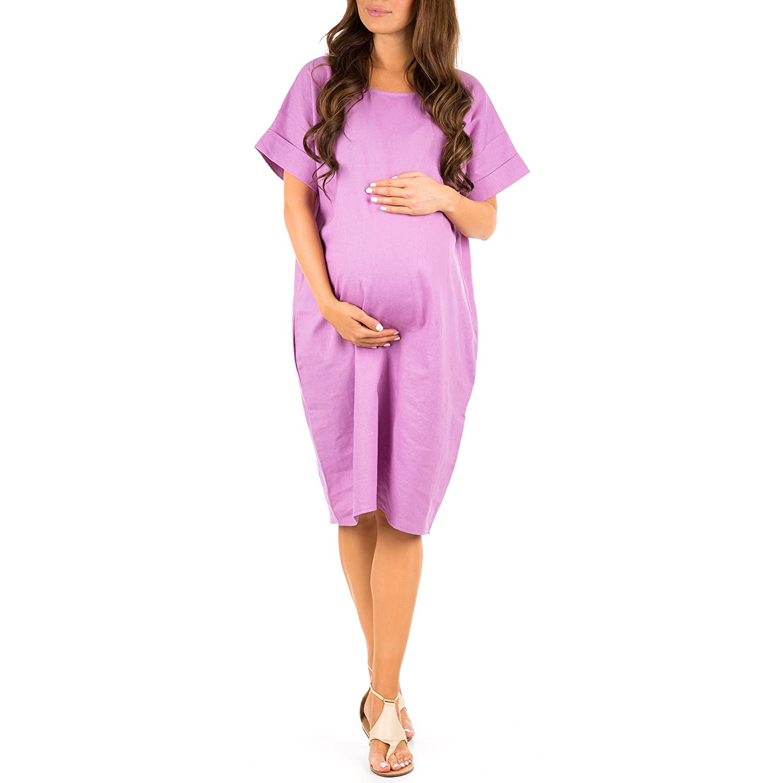 33ce80eccdbc Mother Bee Women s Maternity Linen Knee Length Dress with Pockets by Zenna