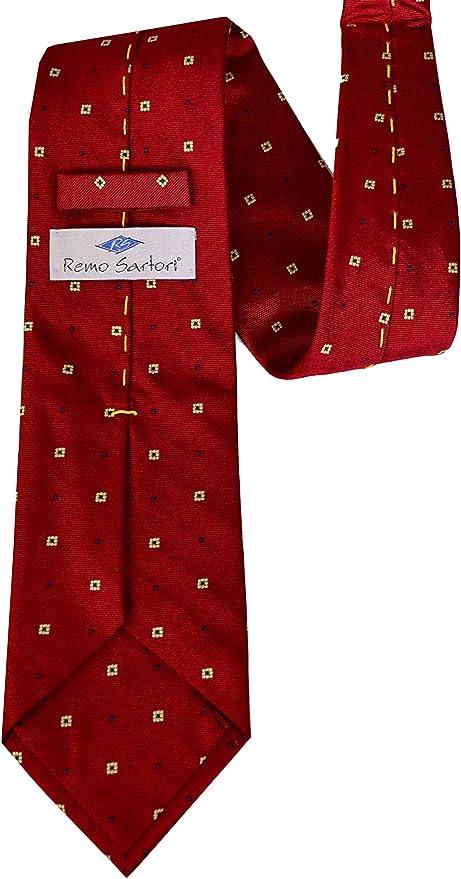 Fatta a Mano Remo Sartori Uomo Cravatta Sartoriale Impunturata Principe di Galles Made in Italy