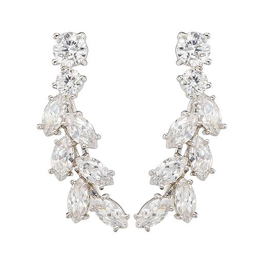 EAR VINES CZ Crystal Ear Cuffs Wrap Pin Ear Climbers Hook Earrings Lr5HS8YqOv