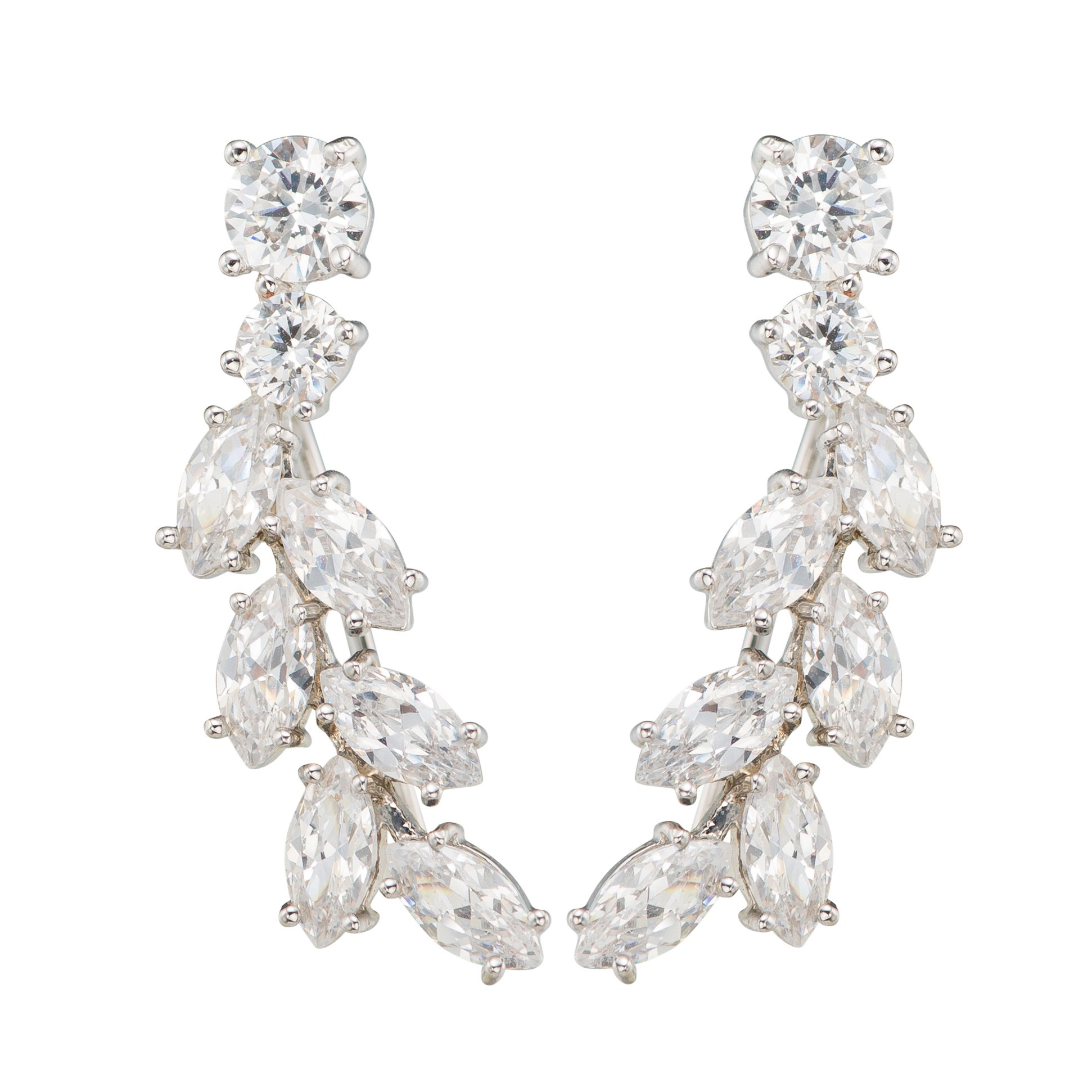 Chicinside Sweep up CZ Crystal Ear Wrap Pin Ear Cuffs Climbers Hook Earrings (silver-plated-base)