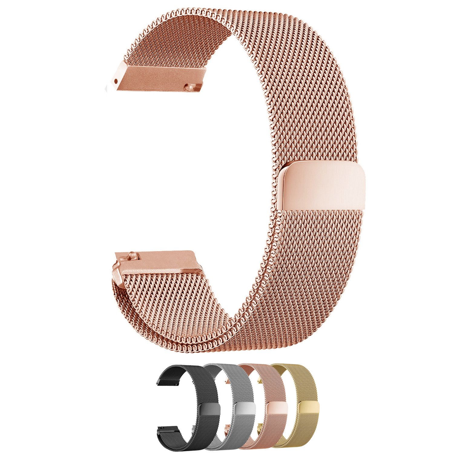 Cbin Quick Release Bracelet - Choice of Color and Width 18mm / 20mm / 22mm / 24mm Stainless Steel Fully Magnetic Closure Milanese Watch Bands for Men and Women (Rose gold, 18mm)
