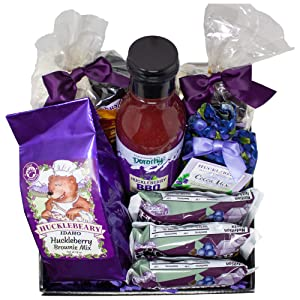 Huckleberry Specialty Food Gift Basket Made in Idaho   Unique Family Gifts   Wild Huckleberries Baking Gifts   Care Package