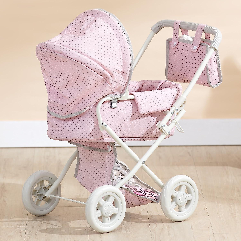 Olivia's Little World- Cochecito de bebé, Color Lunares Rosa y Gris (Teamson OL-00003)