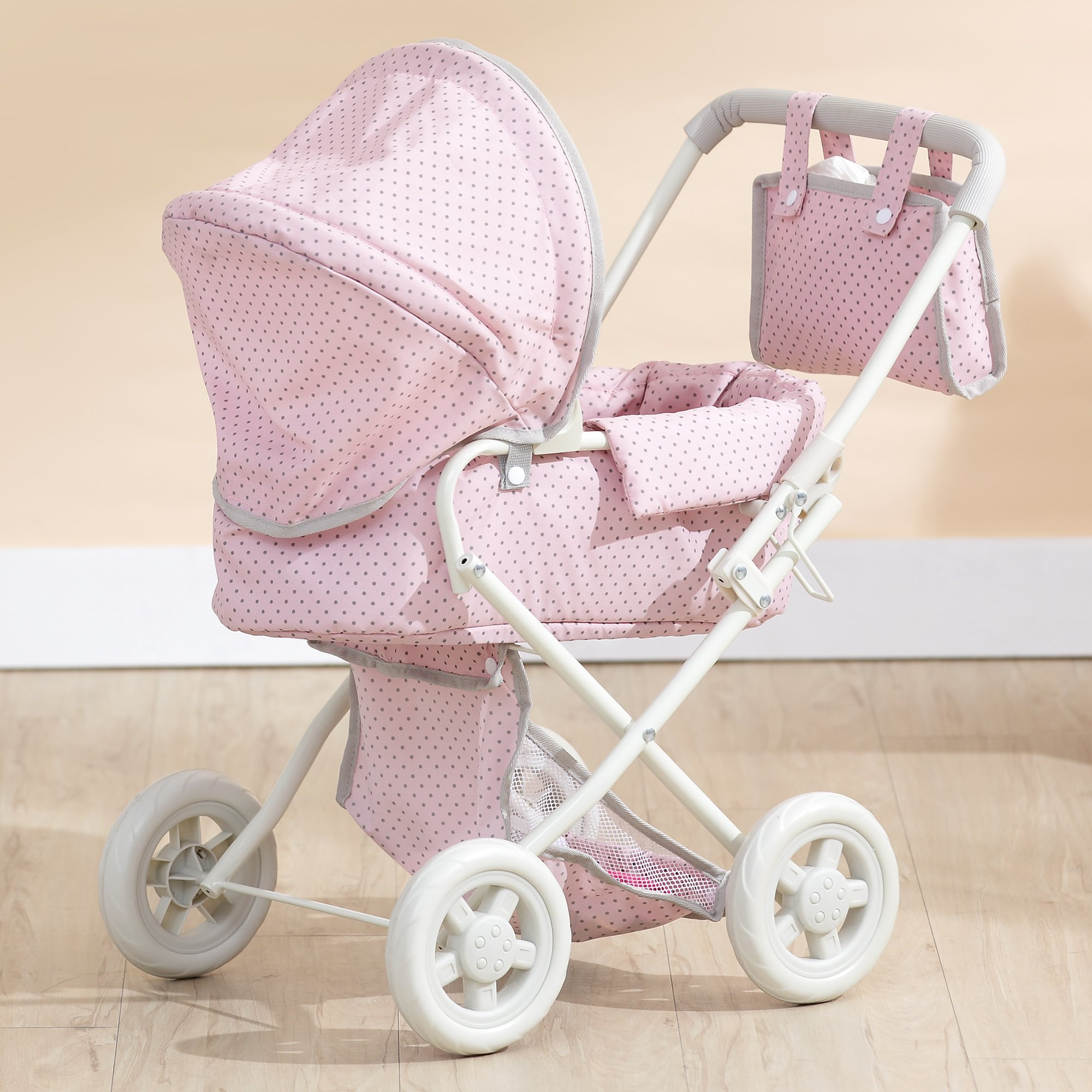 Olivia's Little World - Polka Dots Princess Baby Doll Deluxe Stroller - My First Baby Doll Foldable Stroller with Easy Removable Bassinet & Basket for Doll Accessories - Pink & Gray