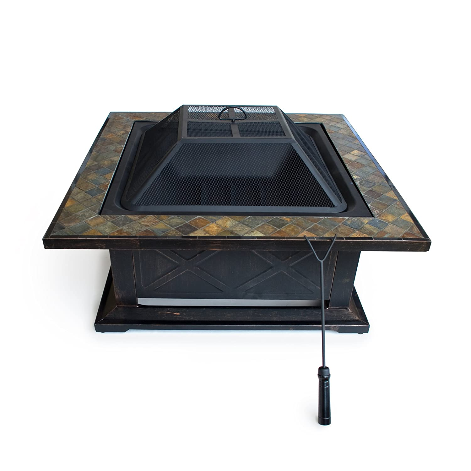 Amazon Outdoor Escapes Square Slate Fire Pit Table with Base