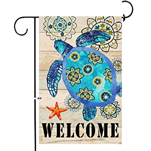 iClols Home Decorative Welcome Quote Outdoor Turtle Beach Garden Flag Double Sided, Ocean House Yard Flag, Beach Garden Yard Nautical Sea Decorations, Seasonal Outdoor Flag 12 x 18