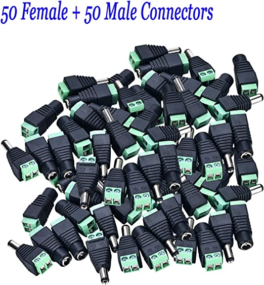 40 Pcs DC Power Cable Female Male Plug Connector 5.5mm x 2.1mm for CCTV Camera