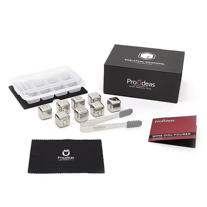 Proudeas / 8X Edelstahl Eiswürfel/Premium Geschenk Set/TÜV ...