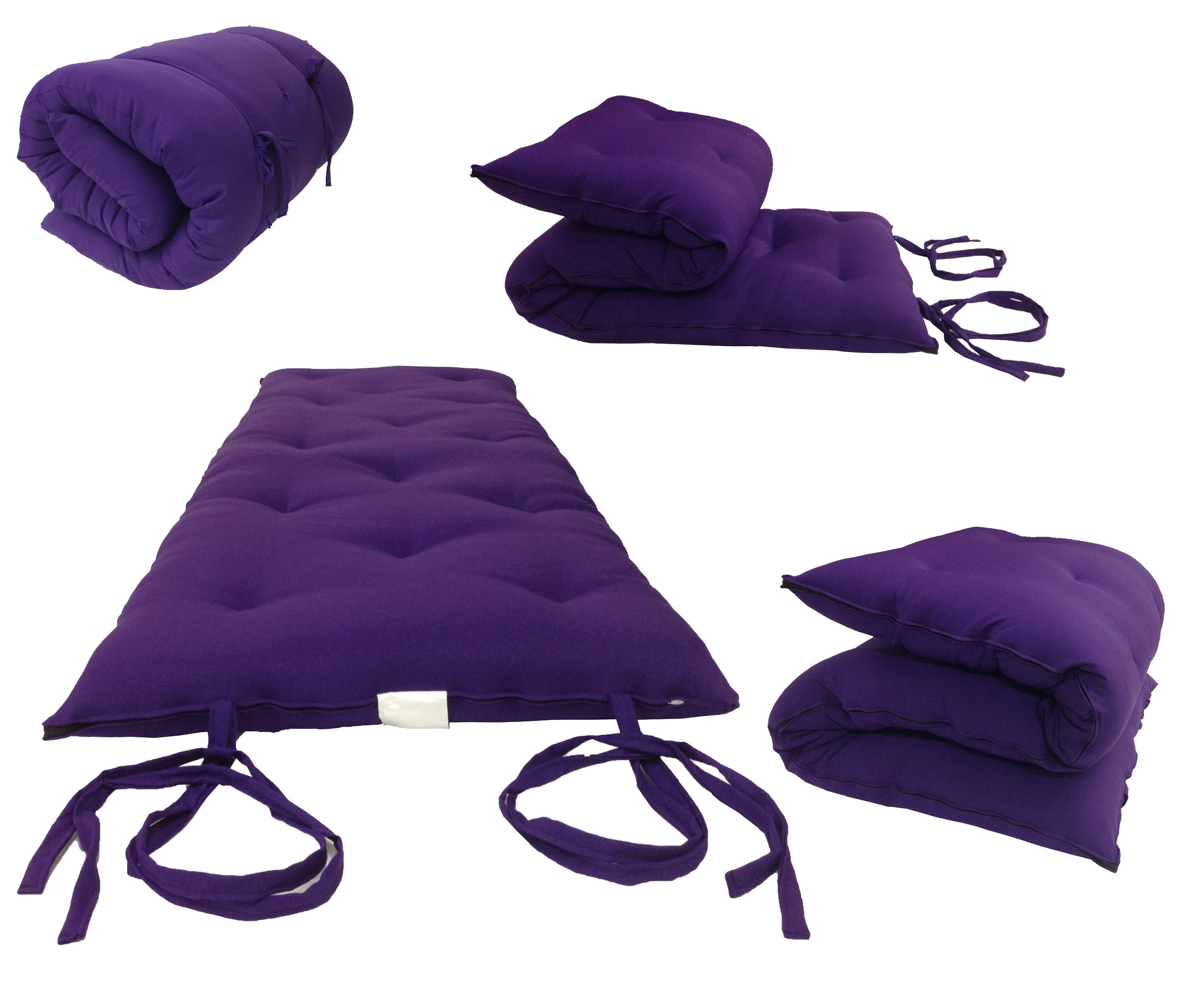 Traditional Japanese Floor Rolling Futon Mattresses, Thai Mats (Queen Size 3 x 60 x 80, Purple) by ADfuton