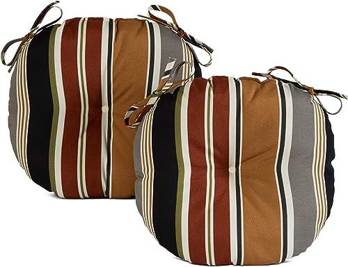South Pine Porch AM5816S2-Brick Brick Stripe 15-inch Round Outdoor Bistro Chair Cushion