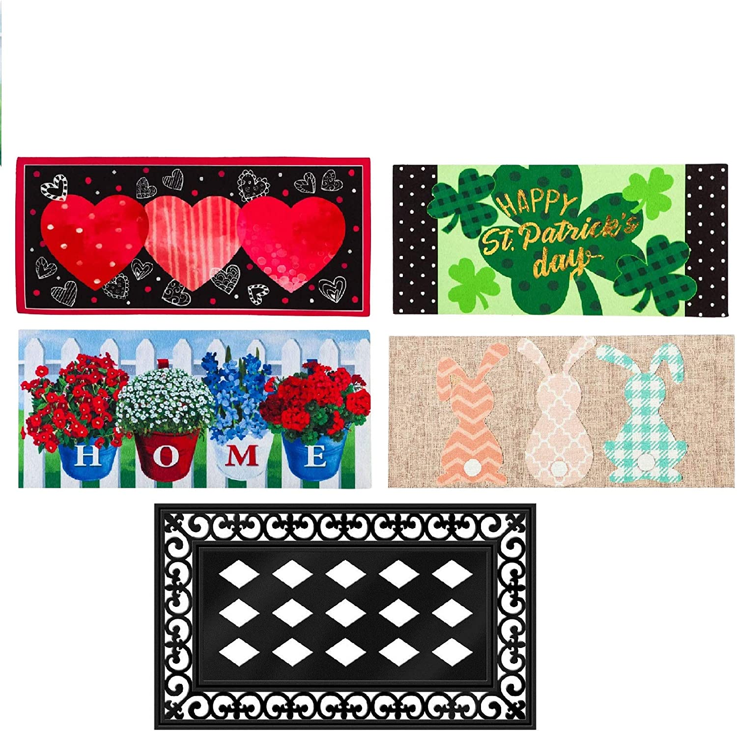 Evergreen Flag Seasonal Sassafras Interchangeable Mat and Tray Set of Five Modern Farmhouse Chic Door Decor for Valentines Day Easter St. Patrick's Day and 4th of July