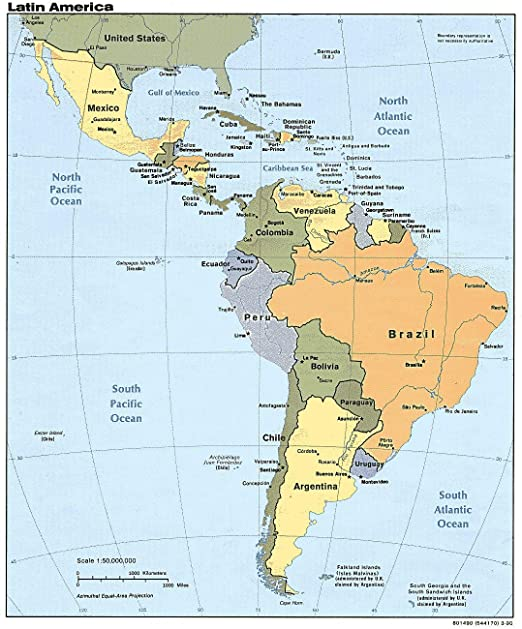 Map Of Usa And South America Amazon.com: Map   Central America Countries in Latin Cuba Coast