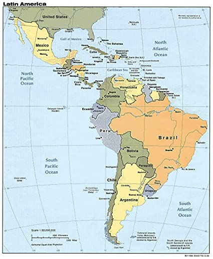 Home Comforts Laminated Map - Central America Countries in Latin Cuba Coast  Rica Unusual Domincan Rebuplic Map Near US - 24 x 36