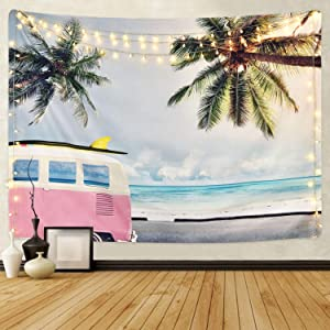 "Sunm Boutique Beach Tapestry Wall Hanging Coconut Tree Wall Tapestry Surf Tapestry Bohemian Tapestry Hippie Tapestry Bedroom Living Room Dorm Art Wall Hanging (L59.1""X82.7"", 0#)"