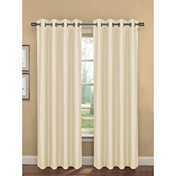 bliss silk room darkening grommet curtain panel pair white faux blackout curtains drapes 96 108 length