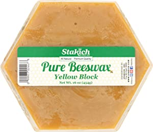 Stakich Pure Yellow Beeswax Block - Natural, Cosmetic Grade - 1 Pound