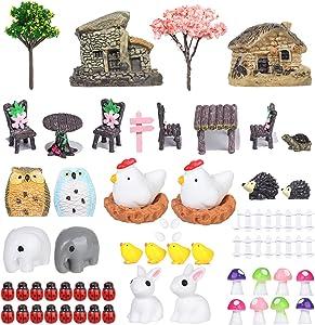 60 Pieces Miniature Fairy Garden Accessories, Miniature Fairy Garden House,DIY Dollhouse Ornaments Kits,Micro Landscape Ornaments Kit,for Outdoor Home House Decor