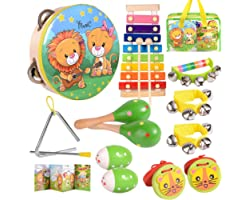 oathx Baby Musical Toys for Toddlers 1-3 Kids'Drum Percussion Instruments Set Wooden Xylophone Maracas Shakers Rattles Learni