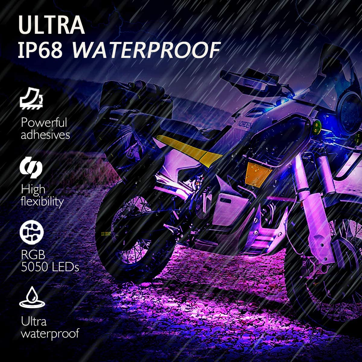 AMBOTHER 8Pcs and 12Pcs Motorcycle LED Light Kits Strips Waterproof RGB Multicolor Underglow Neon Ground Effect Atmosphere Lights