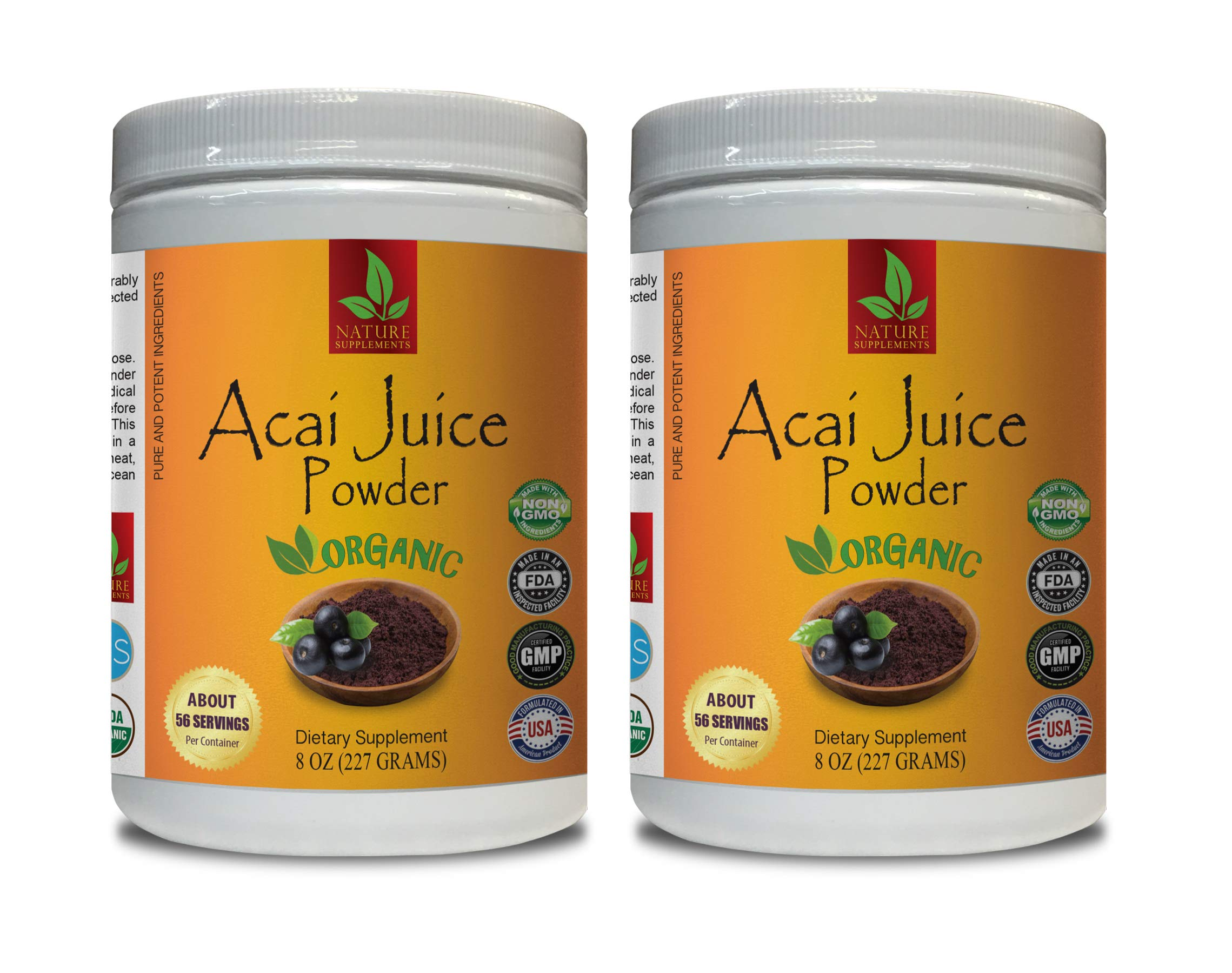 antioxidant Powder Organic - ACAI Organic Juice Powder - Pure and Potent Ingredients - acai Supplement Organic - 2 Cans 16 OZ (130 Servings)