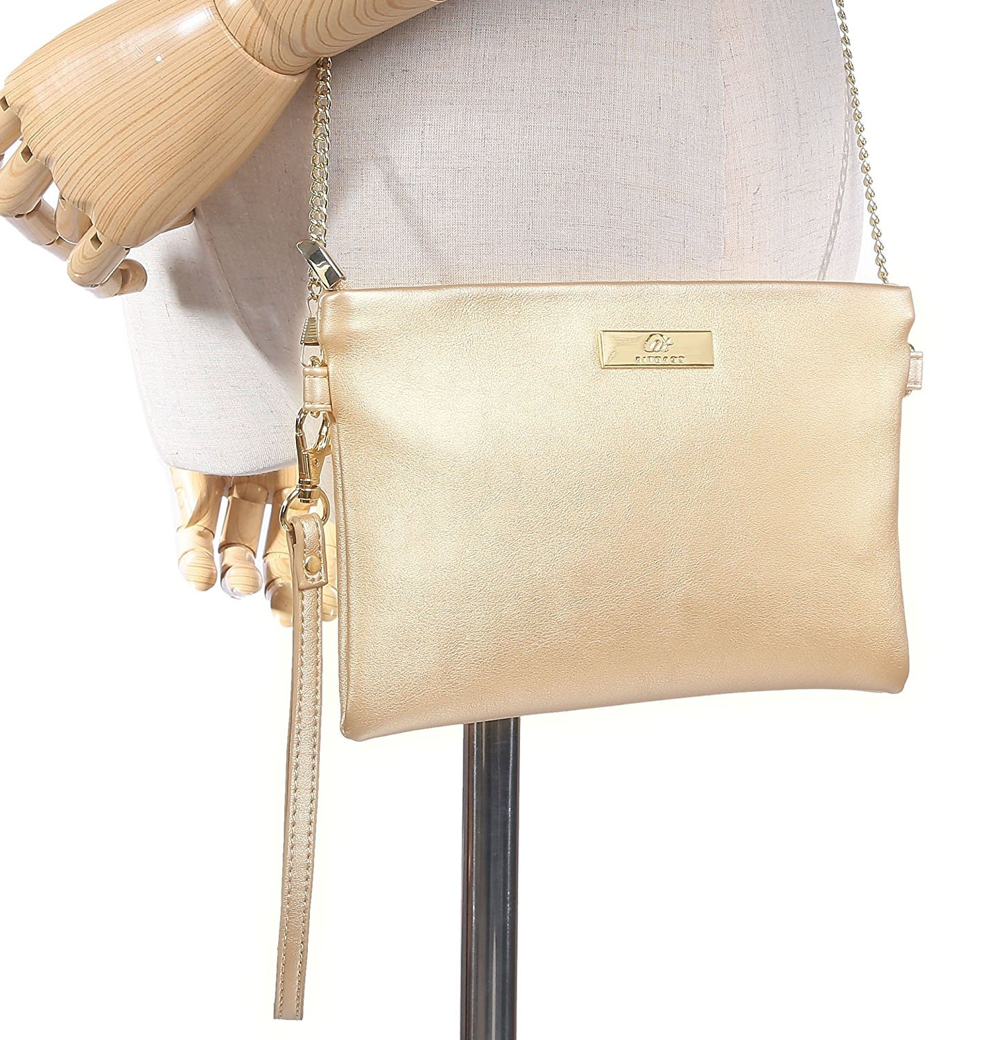 Aitbags Soft PU Leather Wristlet Clutch Crossbody Bag with Chain Strap Cell Phone Purse by Aitbags (Image #6)