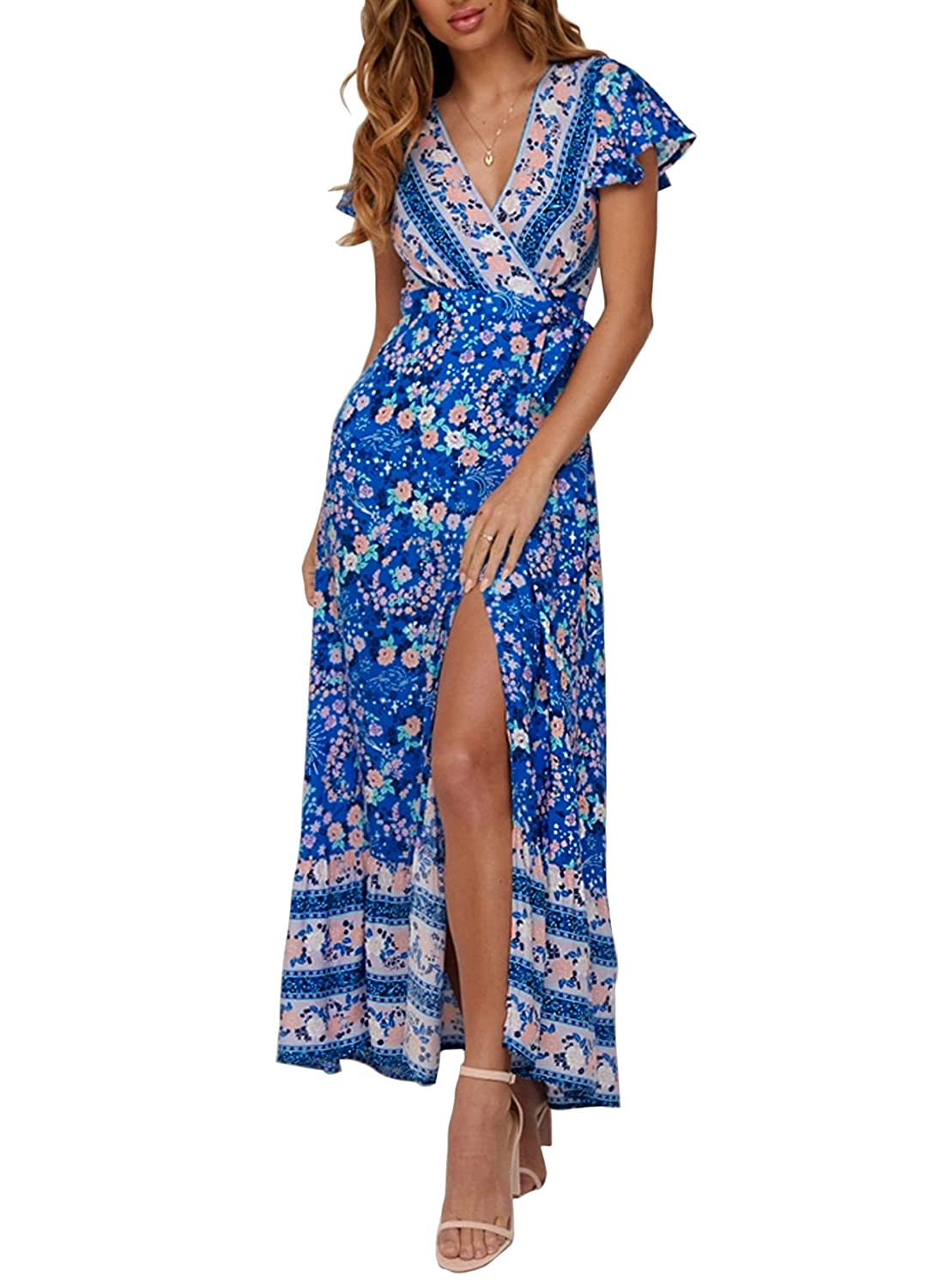 c1095abb2e35 ZESICA Women's Bohemian Floral Printed Wrap V Neck Short Sleeve Split Beach  Party Maxi Dress at Amazon Women's Clothing store: