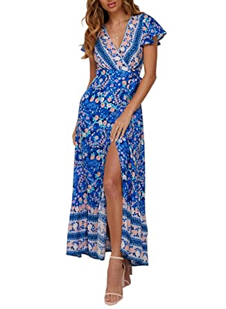 2c11df5ecdd8 ZESICA Women's Bohemian Floral Printed Wrap V Neck Short Sleeve Split Beach  Party Maxi Dress Blue