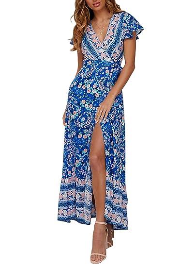 888e3f888c12a ZESICA Women's Bohemian Floral Printed Wrap V Neck Short Sleeve Split Beach  Party Maxi Dress