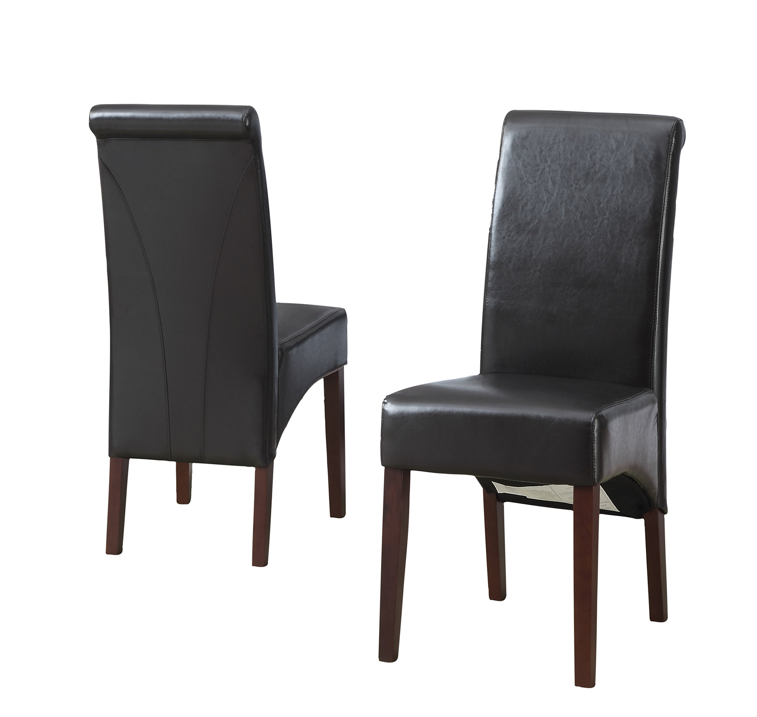 Simpli Home Avalon Faux Leather Deluxe Parson Chairs, Brown (Set of 2)