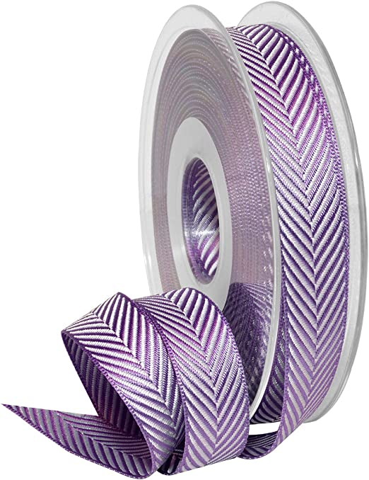 "5 Yds Pink Purple Woven Stripe Wired Ribbon 5//8/""W"