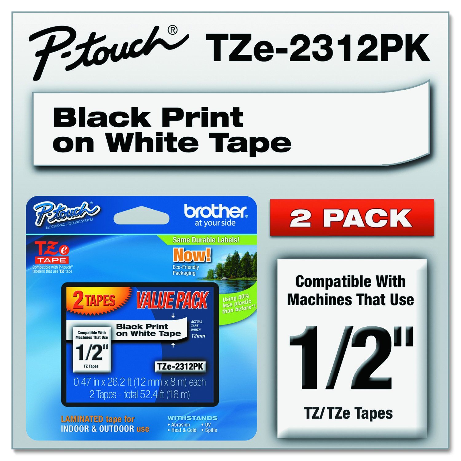 Brother Genuine P-touch, TZE2312PK, 1/2'' (0.47'') Standard Laminated P-Touch Tape, Black on White, Laminated for Indoor or Outdoor Use, Water Resistant, 26.2 Feet (8M), 2-Pack
