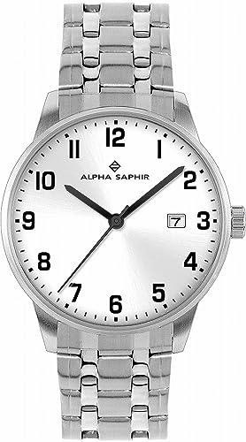 Alpha Saphir 313H - Reloj de caballero de cuarzo, correa de acero inoxidable color plata: Amazon.es: Relojes