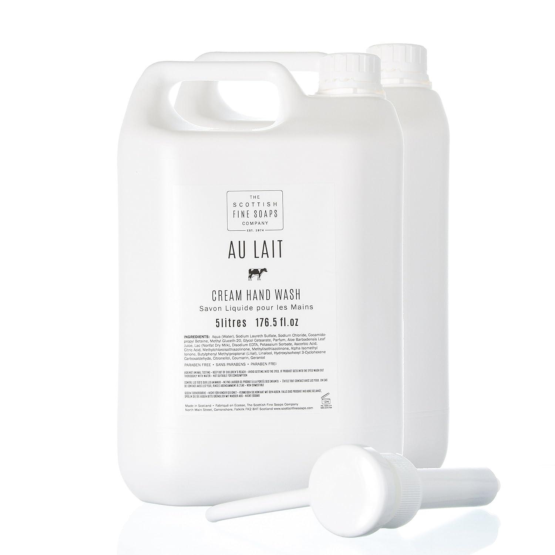 Scottish Fine Soaps Bulk 5L Commercial Au Lait Hand Wash Twin Pack Refill: Amazon.es: Belleza