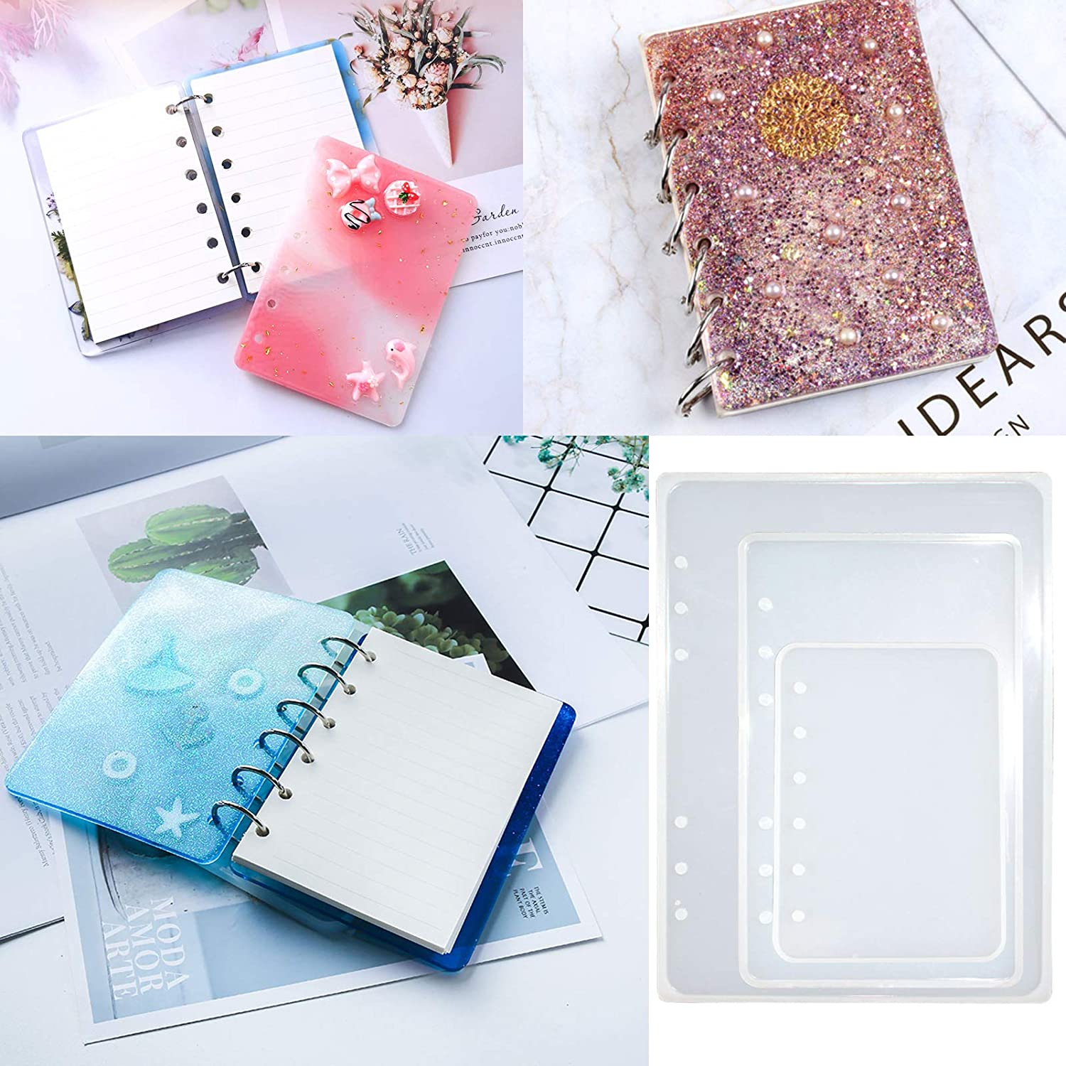 3 Pieces Notebook Cover Resin Casting Molds A5 A6 A7 Book Silicone Molds for Notebook Epoxy Resin DIY