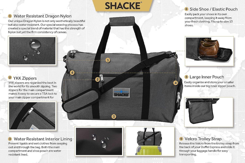 Amazon.com | Shacke's Travel Duffel Express Weekender Bag - Carry ...