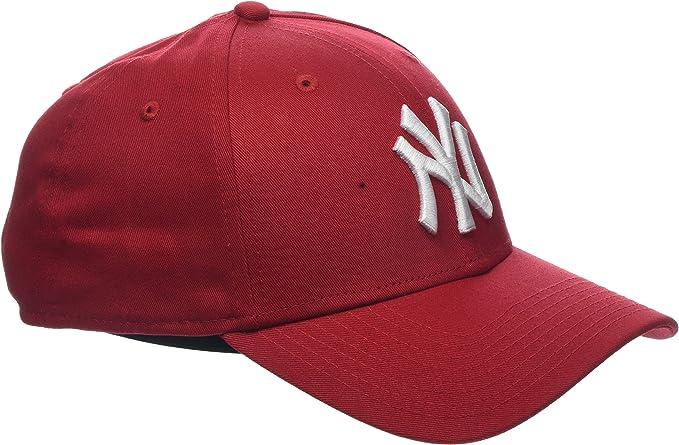CAPPELLO NEW ERA New York Yankees Tela Rosso regolabile logo bianco Strapback