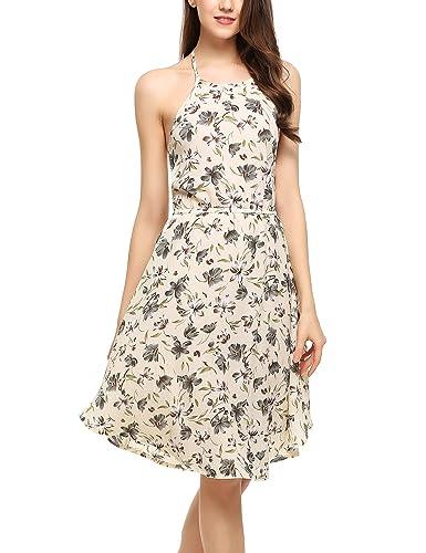Zeagoo Women Summer Halter Neck Backless Chiffon Floral Print Casual Beach Dress