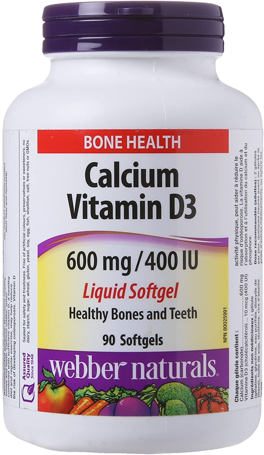 Amazon Com Webber Naturals Calcium With Vitamin D3 600 Mg 400 Iu 90 Liquid Softgels Health Personal Care